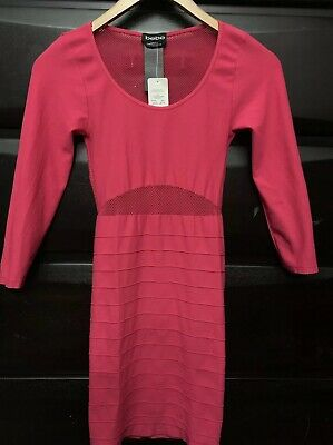 bebe Hot Pink Coral Net Mesh Bodycon Cutout Dress Small NWT