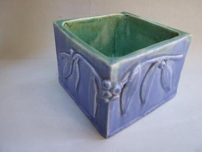 Australian Pottery Harvey School  Blue Vase -Bowl  Planter Gumnuts Signed 1930's