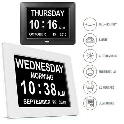 "LED Dementia 8"" Digital Calendar Day Clock Extra Large Time Day/Week/Month/Year"