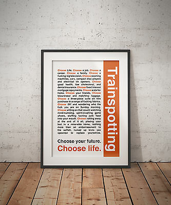 Trainspotting - Choose Life Quote Inspirational Typography A3 Art Print Poster