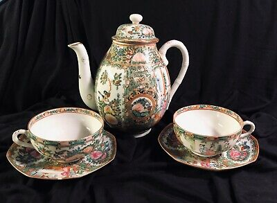 Chinese Porcelain Rose Medallion Tea Set 2 Cups & 8 Side Saucers Dome Lid Panes