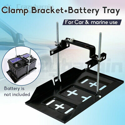 Metal Car Battery Tray Adjustable Hold Down Clamp Bracket Kit Cycle Universal AU