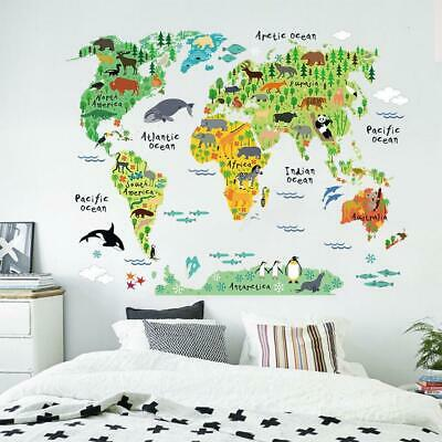 Animal World Map Educational Wall Decals Removable Stickers Decor Kid Nursery