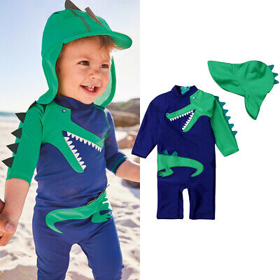 AU Baby Kid Boy Dinosaur Swimwear Swimsuit Beach Swimming Clothes Trunks+Hat Set