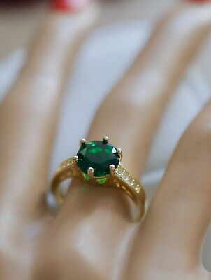 Antique Jewellery Gold Ring Emerald And Sapphires Vintage Dress Jewelry 8 P