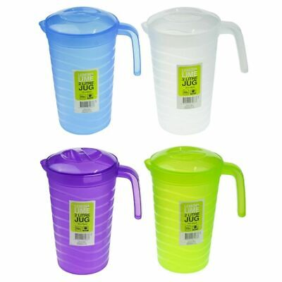 4 x Plastic Water Jug Set Colour BPA FREE with Lid 2L Water Pitcher For Fridge