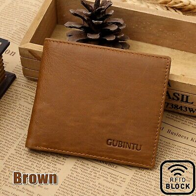 Brown Ultra Slim Mens Womens Leather Wallet Money Clip Ultra Credit Card Holder