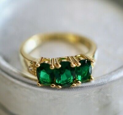Antique Vintage Jewellery Ring Emerald White Sapphire Dress Jewelry size 8 or P