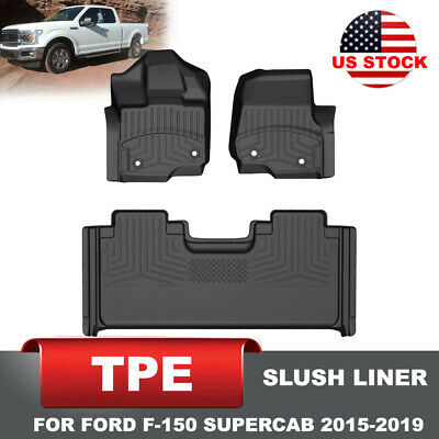 KIWI MASTER Floor Mats Front Rear TPE Slush Liners for Ford F-150 SuperCab 15-19