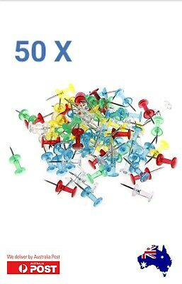 50 x Multi Couloured Transparent Push Pins Notice Board Map Thumb Tacks
