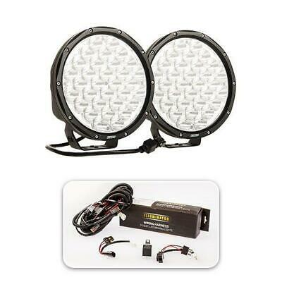 "Essential 9"" Driving Light Pack Round Pair Spotlights Offroad 4x4 9inch Black"