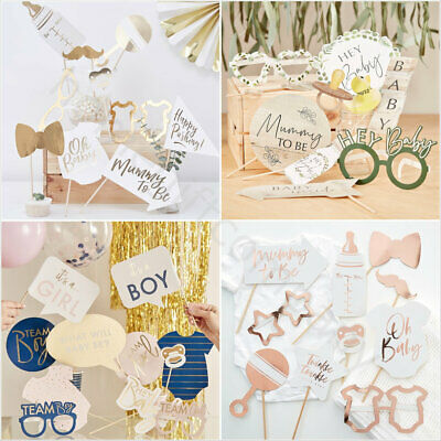 Oh Baby Shower Photo Booth Sefie Props Unisex Boy Girl Gender Reveal Party Games