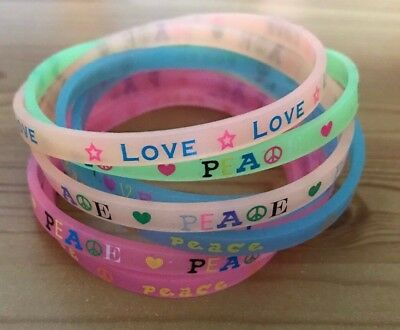 Love Peace Rubber Silicone Wristbands Set 8 Bracelets Party Bag Jewellery NEW