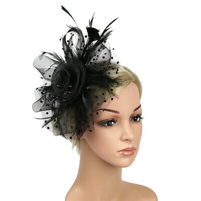 Fascinator Hat Feather Mesh Headband Party Hair Accessories Fashion Women Hat