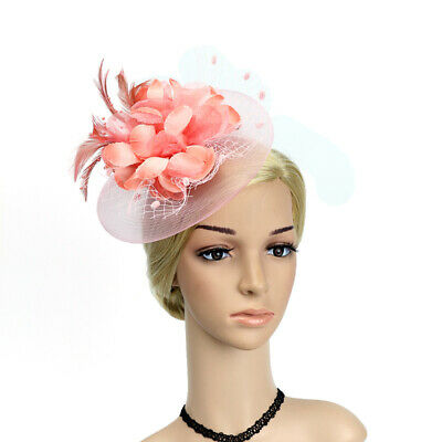 Women Fascinator Hat Feather Mesh Floral Headband Vintage Hair Clip Accessories