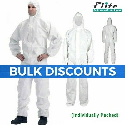 Disposable White Coveralls Painters Protective Overall Boiler Suit Hood Lab Coat