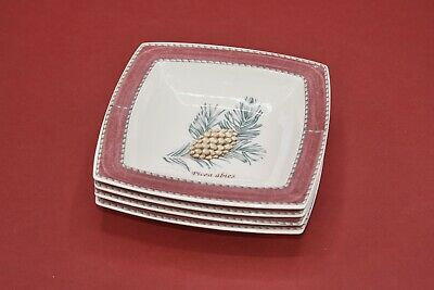 "Wedgwood ~ Sarah's Garden Christmas Red ~ Set Of Four 5.75"" Square Side Dishes"