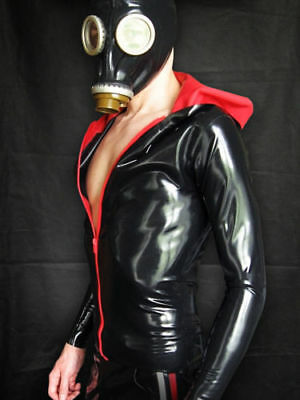 New Latex Coat Rubber Gummi Ganzanzug Red and Black Hoodie Top Shirt Size S-XXL