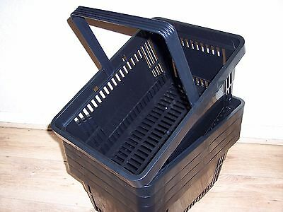 5 Plastic Shopping Baskets with Single Handles Black