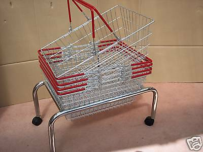 5 Wire Shopping Baskets Light Red / Orange Handles & Mobile Stand