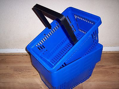 5 Plastic Shopping Baskets with Single Handle Blue