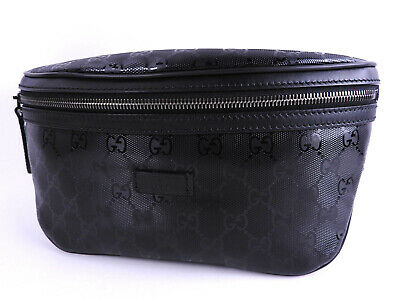 463f849bb Auth GUCCI GG Imprime Waist Belt Pouch Body Bag PVC Leather Black 233269  A-9538