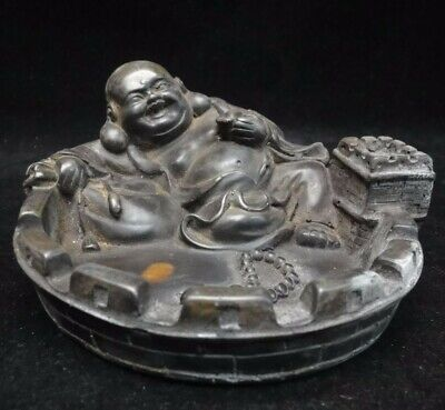 Fine Old Chinese Hand Carving Laughing Buddha Ink Stone Ink Slab Mark