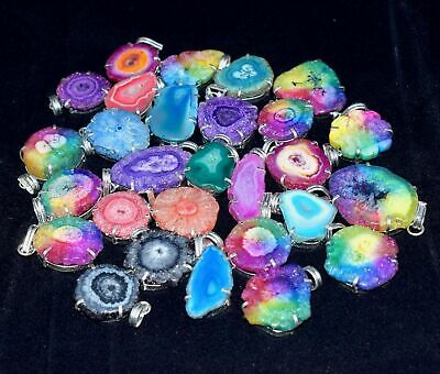 200pcs Solar Quartz Druzy Multi Color Wholesale Lot 925 Silver Plated Pendants