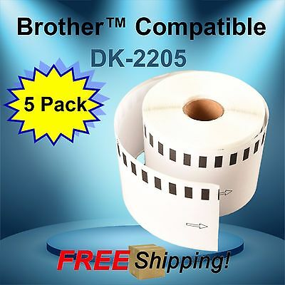 Thermal Address Label Brother™ QL700 Compatible DK-2205 5 Rolls Large Continuous
