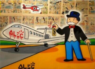 "Alec Monopoly Graffiti Handcraft Oil Painting on Canvas,""Monopoly Spray Alec"""