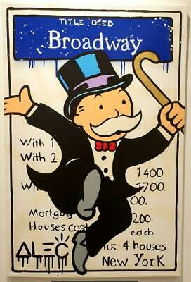 "Alec Monopoly Graffiti Handcraft Oil Painting on Canvas,""Broadway Blvd"""