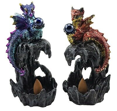 Dragon Holding Crystal Ball Incense Cones Ornament Figurine Sculpture PAIR 15 cm