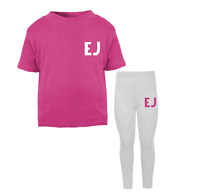 Personalised Initial Lounge Set Children's Top Leggings Custom Girls Boys Pink d
