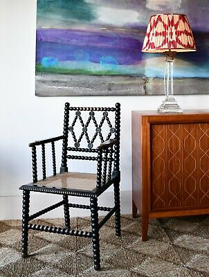 Stylish 19th Century Ebonised Bobbin Cane Desk Bedroom Side Table Arm Chair