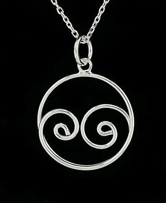Solid 925 Sterling Silver, Swirl Circle Pendant Necklace Gift