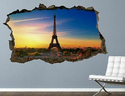 BB145 Eifel Tower Winter Snow Cool Smashed Wall Decal 3D Art Stickers Vinyl Room