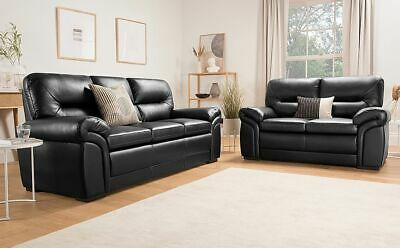 Bromley Black Leather Sofa Sofas Couch Settee Suite Suites