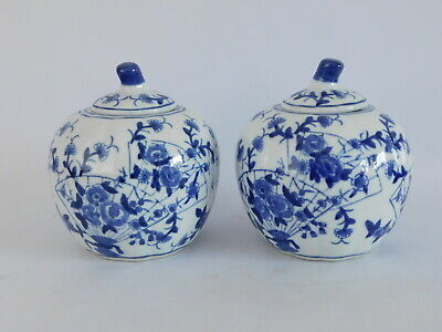 Pair Of Chinese Pumpkin Hand Painted Ginger Jars ~ Free Uk Postage