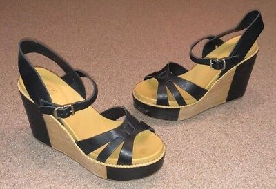 5441aec560e2 SEE BY CHLOE Black leather Platform Wedge strappy Sandals Size EUR 39 US 9