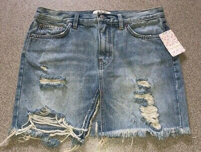 c0669d978 FREE PEOPLE RELAXED & Destroyed Denim Skirt Sz. 30 NWT - $15.00 ...