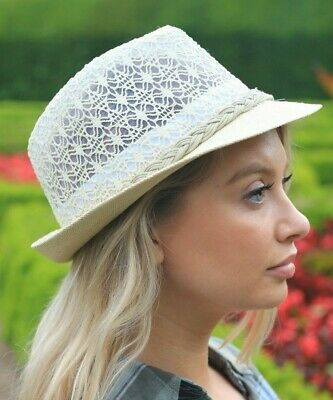 Ladies Straw Trilby Hat Lace Effect Paper Brim Embroidered White Cream Fedora