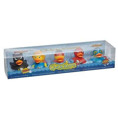 Quackers Super Hero Pack of 5 Rubber Ducks - Bath Playroom Party Bag Gifts
