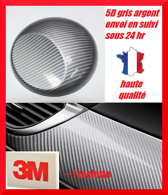 Film covering carbone 5D Gris argent thermoformable 152 x 40 cm + raclette 3M