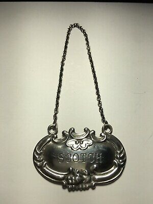 Vintage Wallace Sterling Silver Liquor Decanter Bottle Tag Label - SCOTCH