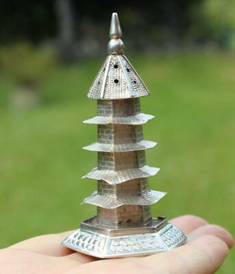 Antique Chinese Export Solid Silver Pagoda Pepper Shaker (R3053E)
