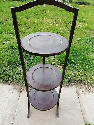 Antique Mahogany Free Standing Art Deco 3 Tier Fold Up Cake Stand