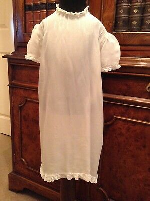 Vintage Antique Ivory Silk Short Sleeve Baby Dress Christening Robe