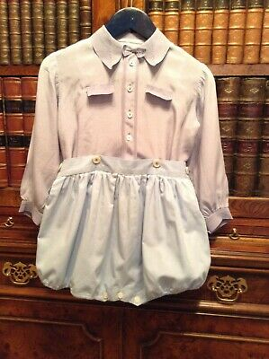 Vintage Baby Boys Pale Blue Silk & Cotton Button-on Shorts & Shirt Romper Suit
