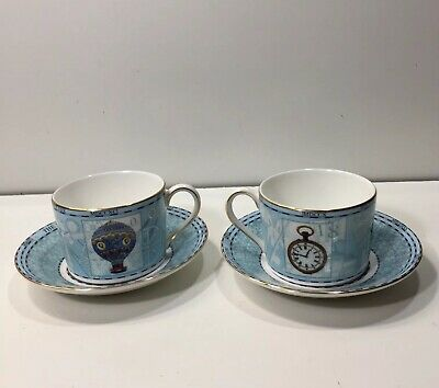 Lot Of Two Wedgwood Millennium  Bone China Cups And Saucers Made England 1998