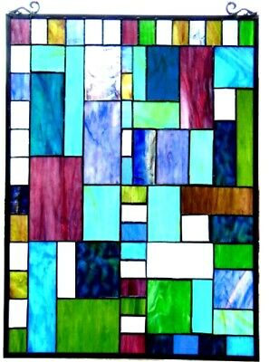 """32"""" x 20"""" Mixed Medium Tiffany Style Stained Glass Window Panel With Chain"""